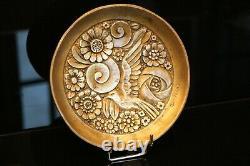 Coupe en bronze à décor floral à l'oiseau Art déco signé G. Huygens