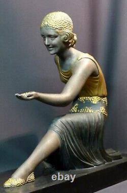 D 1925 statue sculpture art déco CHIPARUS femme aux chèvres 76cm marbre superbe