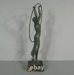 Danseuse Au Cerceau Sculpture Ancienne Style Art Déco Régule Signé Charles