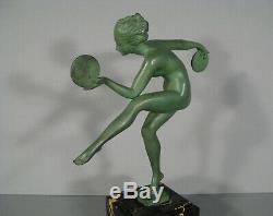 Danseuse Aux Cymbales Sculpture Ancienne Style Art Déco Signée Derenne