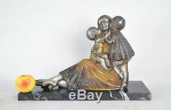 Dh Chiparus, Famille, Sculpture Polychrome Signée, Art Déco, XXème Siècle