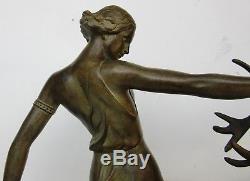 DvinaSculpture Diane chasseresse époque art decoFonte d'art patinéeEtat sup