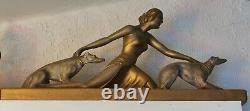 Elégante Sculpture Art Déco 1930 Signé Salvatore Melani Dyane Chasseresse L 70cm