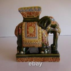 Eléphant sculpture céramique faïence fait main XXe art déco ethnique Inde N3638