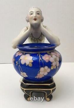 Encrier Porcelaine Sculpture Art Déco Aladin Luxe France Femme Vase Bleu Fleurs