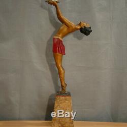 Enrique BALLESTE Lampe sculpture femme Art Deco en régule émaillé French Lamp