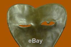Fait à la Main Moderne Art Visages par Picasso Bronze Sculpture Marbre Base Déco