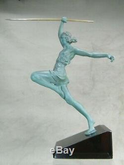Fayral Statue Art Deco La Lanceuse De Javelot Ht. 30 CM Avec Base Sculpture