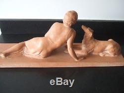 Femme Au Levrier Sculpture En Terre Cuite Par Cipriani Art Deco Greyhound
