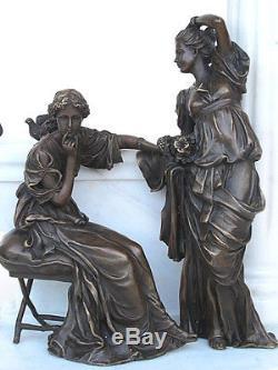 Figure de bronze deux femmes dans le jardin 11 kg sculpture art déco 20374j