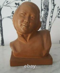 G Hauchecorne Sculpture buste terre cuite chinoise Art Déco 22132
