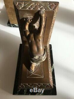 G. LIMOUSIN RARE SERRE-LIVRES SCULPTURES Régule ENFANTS PUTTI 1930 Art Déco