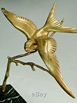 GH LAURENT SPLEND. SCULPTURE OISEAU BRONZE DORE ART DECO Ca. 1925 BASE MARBRE