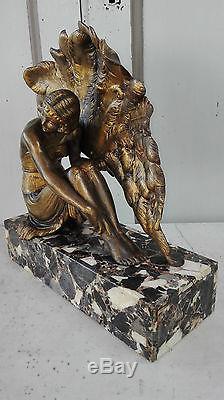 Grande Statuette Sculpture Danseuse A L'eventail Art Deco 1920/1930