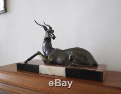 Grande Gazelle Couchee, Regule Patine Bronze, Socle 4 Marbres, Art Deco, 1930