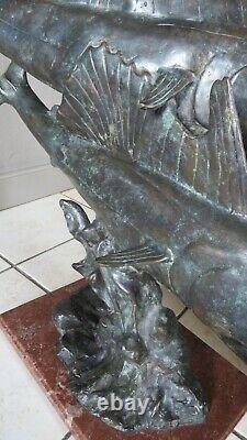 Grande Sculpture Animalière Art Déco 3 Espadons En Bronze 74 CM