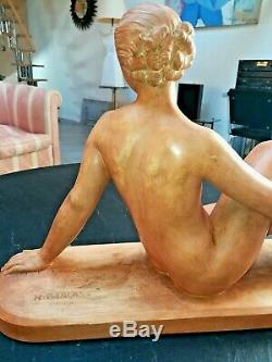 Grande Sculpture Art Déco En Terre Cuite Nu Féminin De Henri Bargas 1920