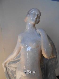 Grande Sculpture Femme Danseuse Craquelé Art déco signé Guignier