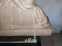 Grande sculpture en terre cuite Tristan et Iseut BOTTIAU Alfred art deco