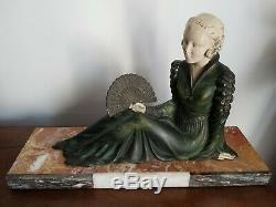 Grande statue sculpture femme métal et marbre ART DECO ancienne 1930