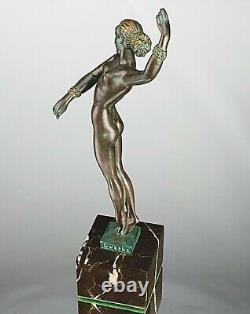 Guerbe P. Le Faguays Sculpture Bohème Danseuse Bronze Max Le Verrier ART DECO