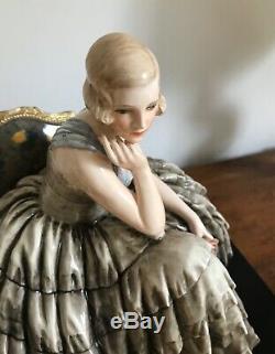 Guido Cacciapuoti Grande Sculpture 1930 Porcelaine Art Deco Superbe État