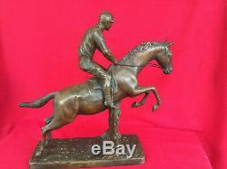 Henri Fugere, Grande Sculpture Équestre En Régule Époque Art-déco