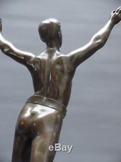 Henry Fugere 1872 1944 Athlete Sculpture Bronze 1930 Sport Nu Masculin Art Deco