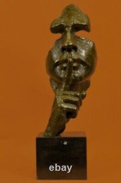 Homme Visage Sculpture Statue Bronze Dali Le Silence Fonte Art Déco Solde