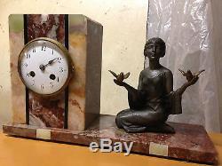 Horloge Pendule Sculpture ART DECO signée P SEGA