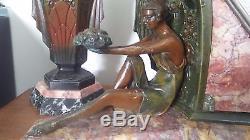 Horloge Sculpture Art Déco Limousin Femme Antique Clock Statue Muller Pendule