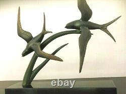 Irénée Rochard (1906-1984) Imposante Sculpture Art Deco régule oiseaux en vole