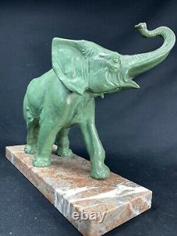 Irenee Rochard (1906-1984) Sculpture Elephanteau Patinee Bronze Art Deco Statue