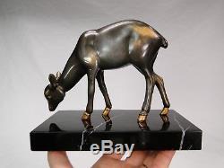 Irenee Rochard (1906-1984) Superbe Sculpture Faon Art Deco Statue Patinee Bronze