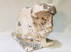 Jan Et Joël Martel-Bison Assis-sculpture Art Deco En Ciment