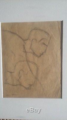 Jan joël Martel rare dessin ange art déco atelier projet de sculpture