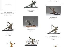 Jean de Roncourt Sculpture pendule Le chasseur époque Art Déco 1930 no bronze