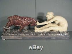 Jeune Femme Nue Et Chèvre Sculpture Ancienne Céramique Art Nouveau Signée Gory