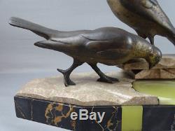 Jolie sculpture Art Déco vers 1930 groupe de pigeons G. Arisse