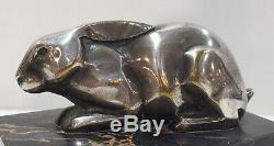 L. Rigot Sculpture Bronze Argenté dun Lapin Boulant Signé. Période Art Déco