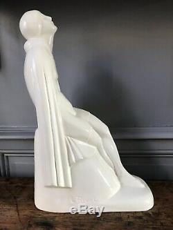 L Rivet sortie De Bain Sculpture En Ceramique Craquele Art Deco 1930