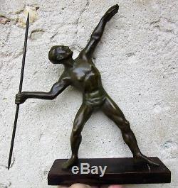 LUCSculpture bronze patiné époque art decoLe lanceur de javelotEtat superbe