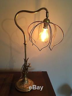 Lampe Bronze Breveté Art Nouveau / Sculpture Végétale / Bronze Floor Lamp