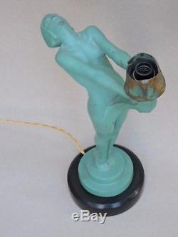 Lampe MAX LE VERRIER STATUE SCULPTURE ART DÉCO DANSEUSE Femme nue