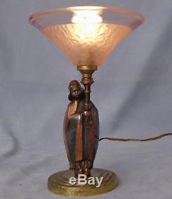 Lampe Sculpture Eclairante en Bronze Epoque Art-Déco Signée vers 1910/20