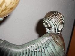 Lampe Sculpture Femme Art Déco Guerbe Le Verrier Rêverie Art Déco 1930 Rare