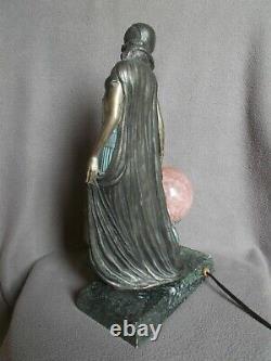 Lampe art deco VANDEVOORDE danseuse gitane sculpture femme statue lamp veilleuse