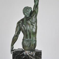 Le Faguays, max Le Verrier, Gloire, Sculpture En Régule Vert, Art Déco, XXème S