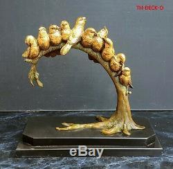 Louis Carvin Sculpture Bronze Dore 10 Oiseaux Sur Branche Art Deco 1930