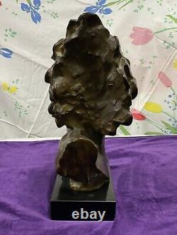 Louis Sosson Superbe Sculpture Bronze Patine Brune Buste Indien Époque Art Deco